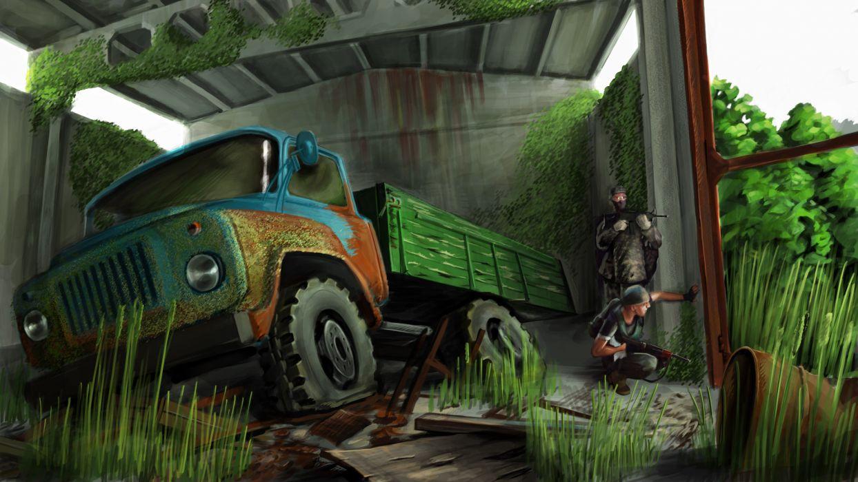 STALKER Painting Art Trucks Games military wallpaper