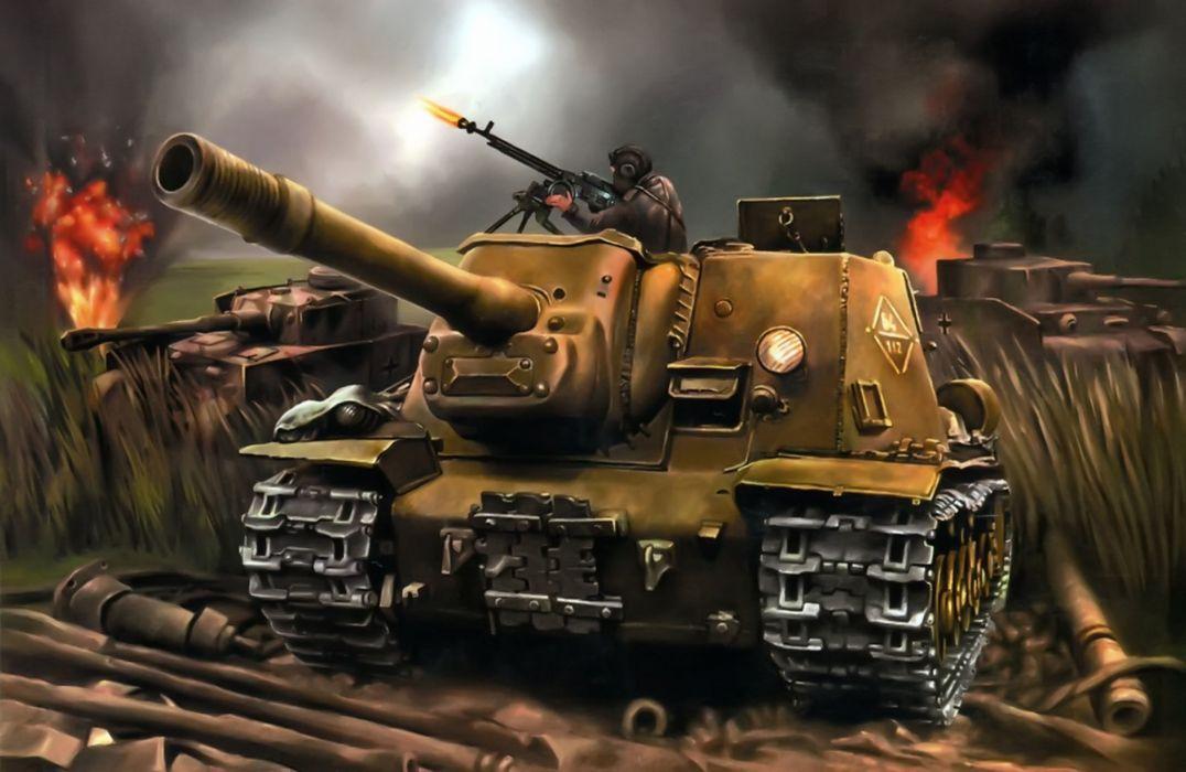 World of Tanks Painting Art SPG ISU-152 tank military battle wallpaper