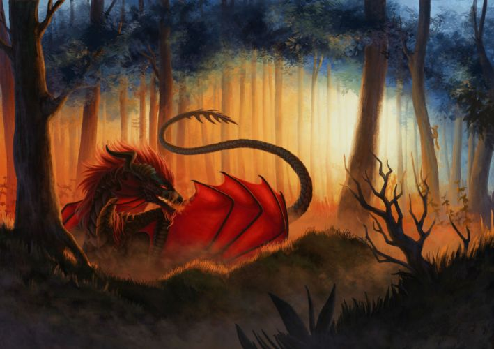 Dragons Forests Fantasy dragon forest trees wallpaper