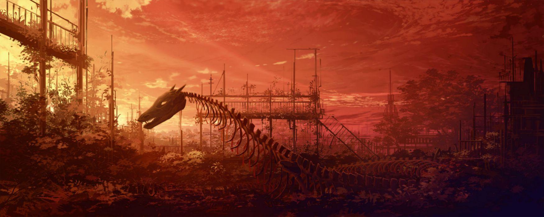 landscape monochrome scenic fantasy dragon dragons skeleton skeletons wallpaper
