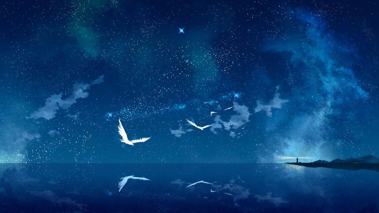 original animal bird night original scenic sky stars tokumu kyuu water reflection mood bokeh wallpaper