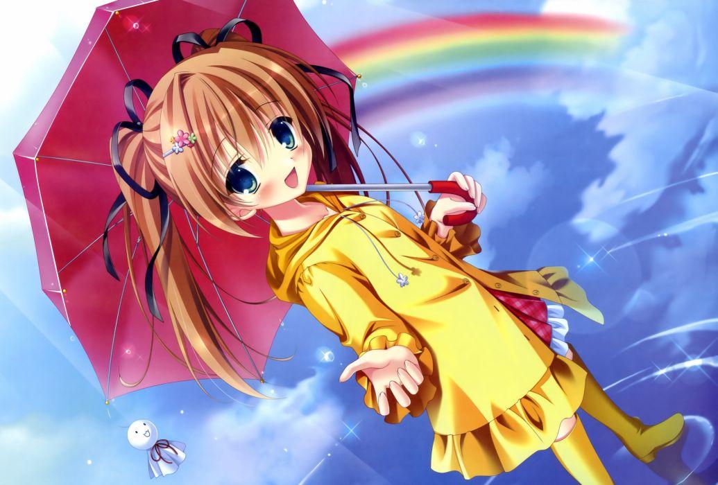 original boots brown hair dengeki moeoh original rainbow tanihara natsuki twintails umbrella water wallpaper