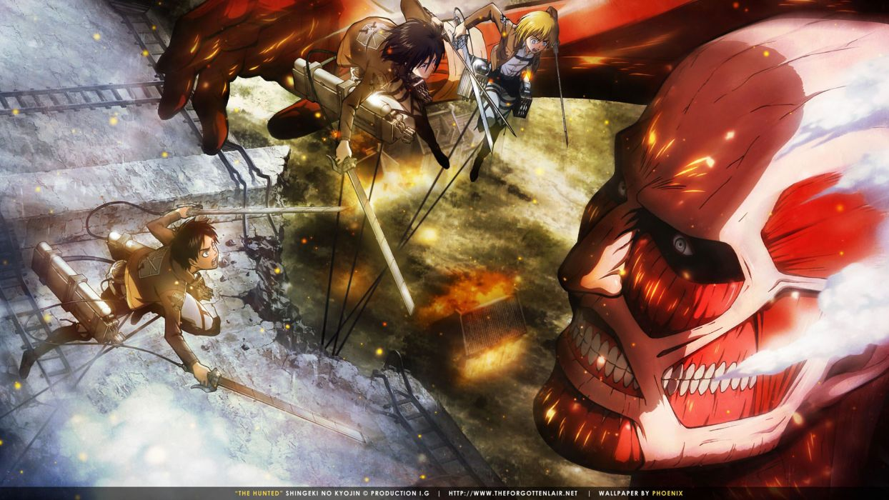 Shingeki No Kyojin Armin Arlert Colossal Titan Eren Jaeger Fire Mikasa Ackerman Shingeki No Kyojin Sword Swordman Weapon Wallpaper 1920x1080 110474 Wallpaperup