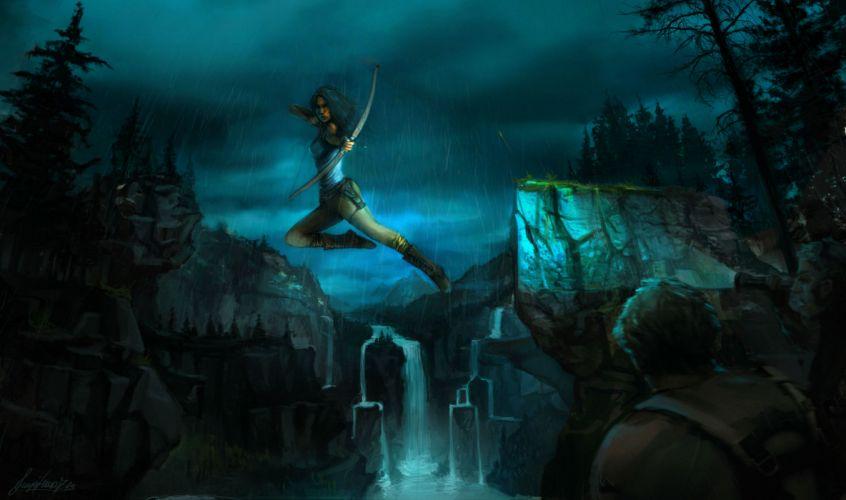Tomb Raider 2013 Archers Jump Night Games Girls girl fantasy waterfall dark weapon weapons archer wallpaper