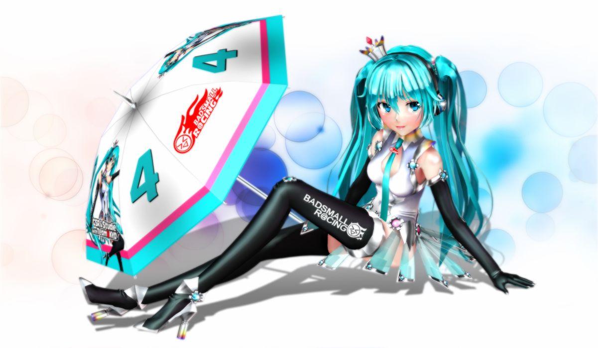 vocaloid aqua eyes aqua hair ektyr y hatsune miku thighhighs twintails umbrella wallpaper