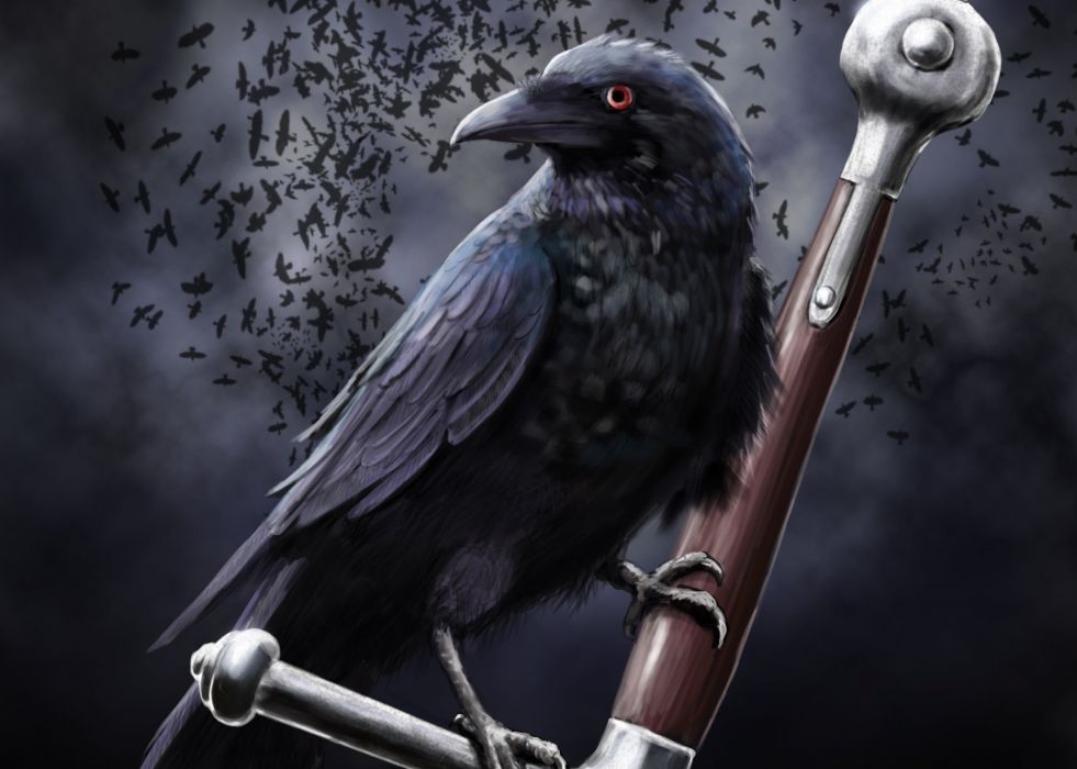 art leather raven crow clouds sword death dark swords weapon weapons fantasy wallpaper