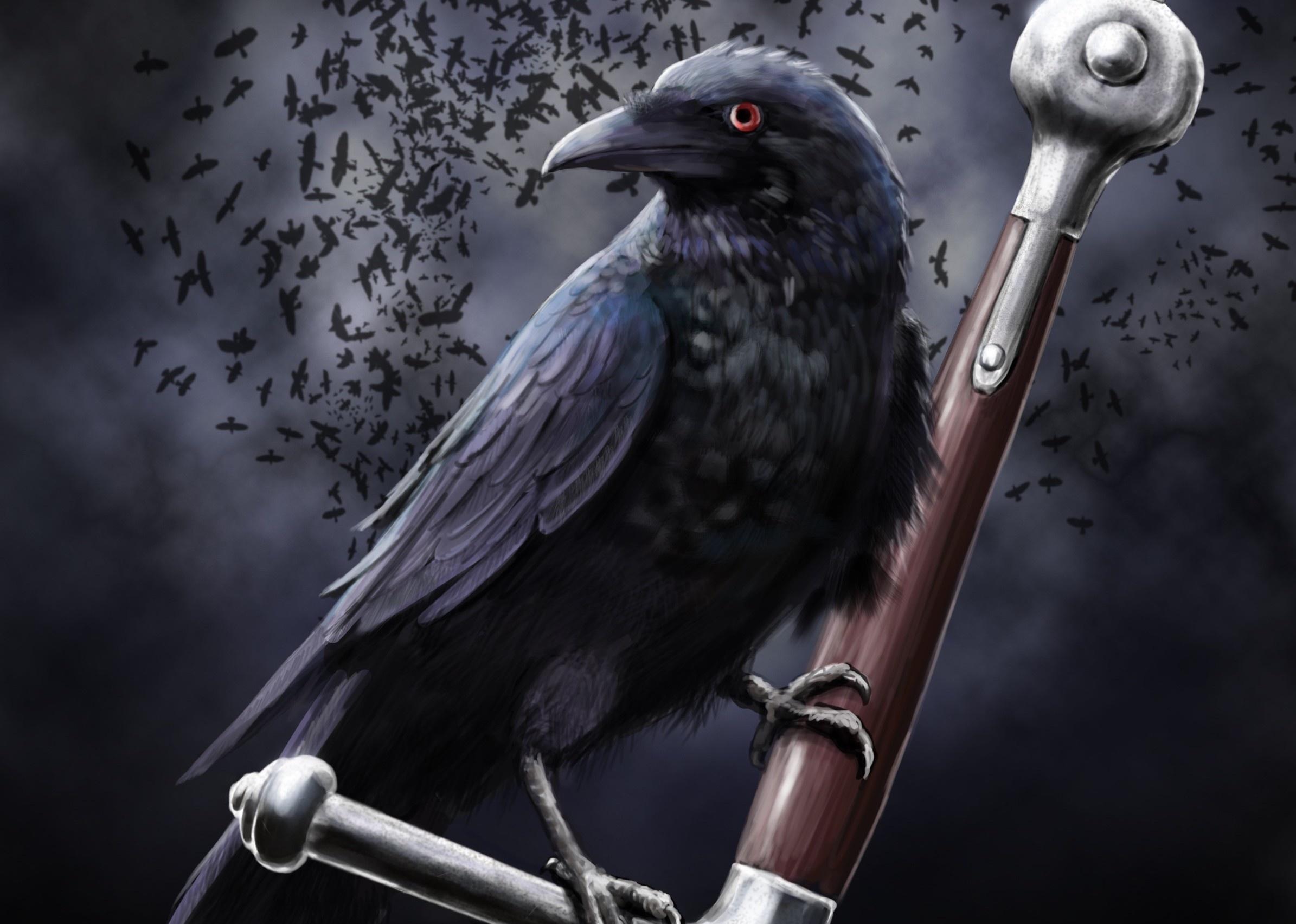 Art Leather Raven Crow Clouds Sword Death Dark Swords