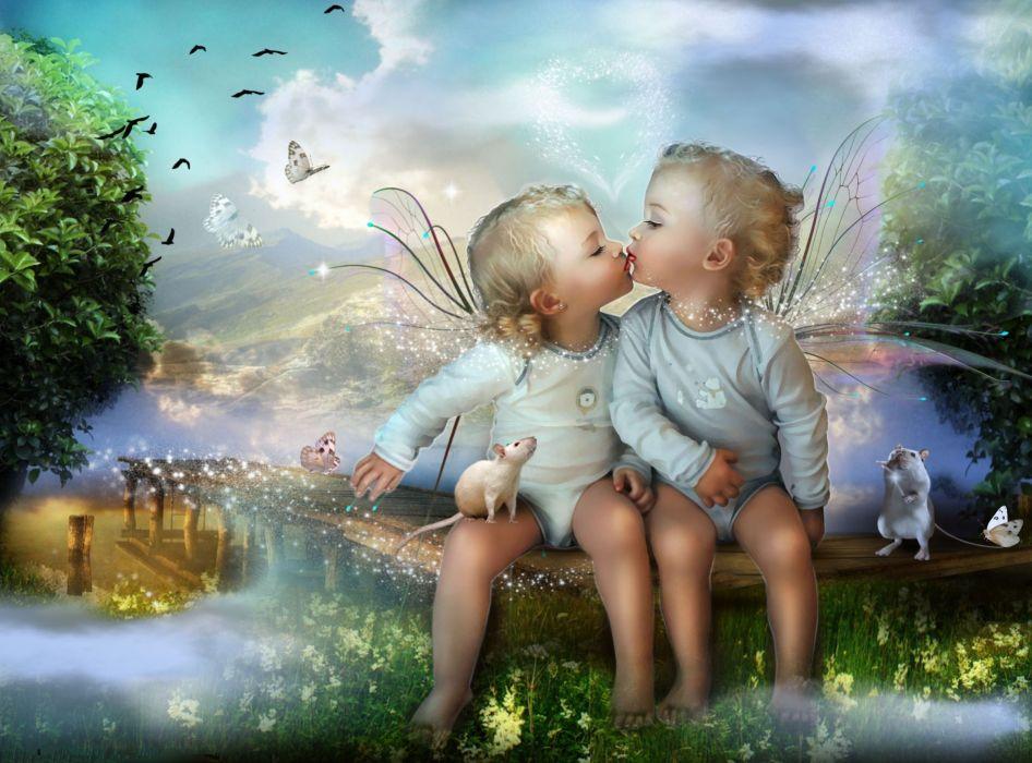 children child baby cute fantasy magic magical bokeh mood fairy wings love wallpaper