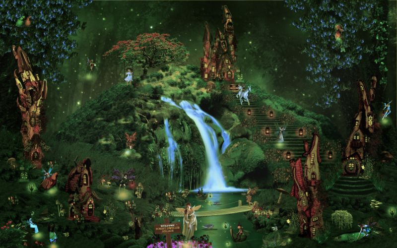 fantasy castle city forest waterfall fairy elf magical wallpaper