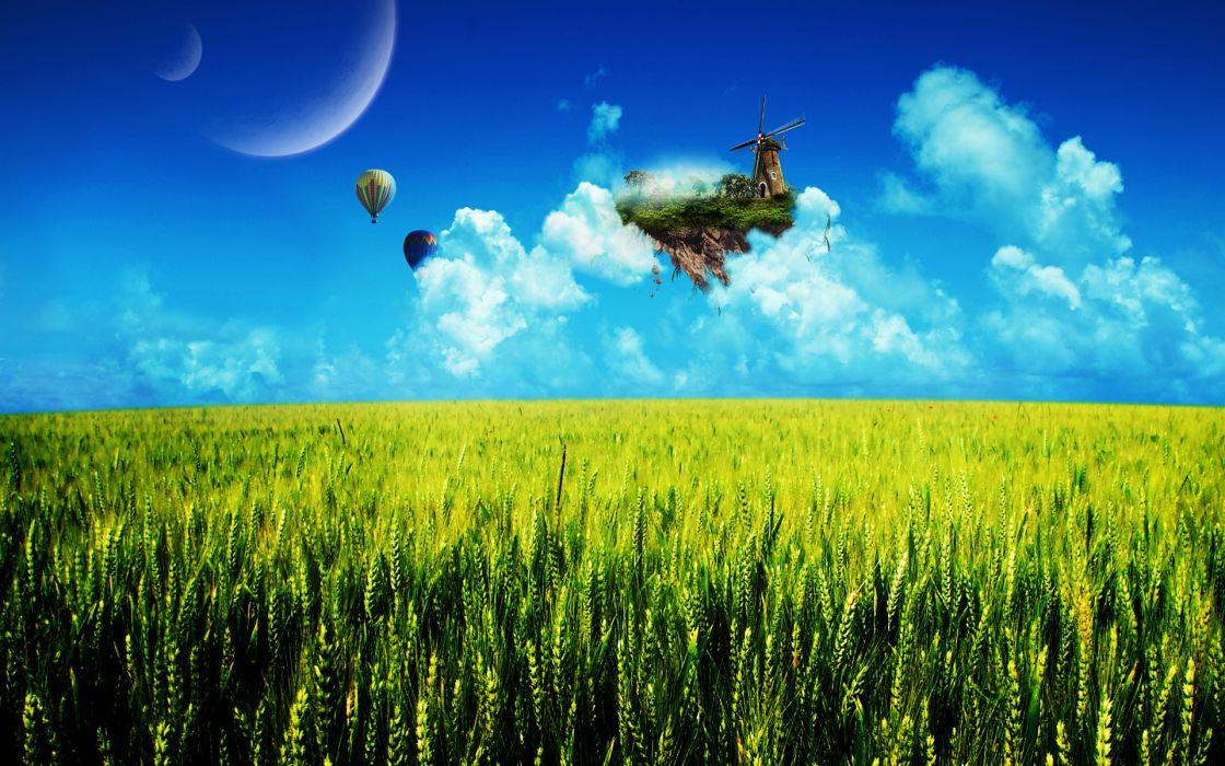 field island balloons fantasy dream floating wheat balloon sky creative landscape wallpaper