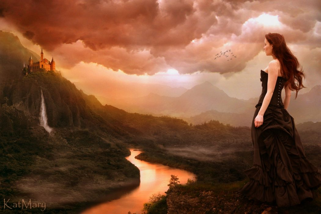 girl castle waterfall river landscape mountains clouds birds gothic goth-loli mood fantasy women redhead wallpaper