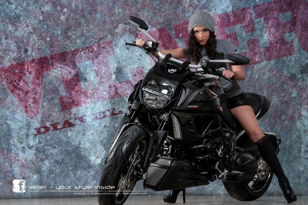2013 Vilner Ducati Diavel superbike superbikes bike women model models brunette brunettes        g wallpaper