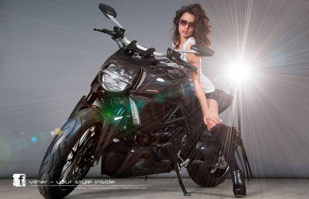 2013 Vilner Ducati Diavel superbike superbikes bike women model models brunette brunettes wallpaper