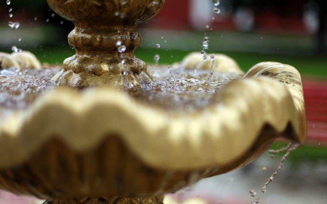 bokeh drops fountain water macro wallpaper