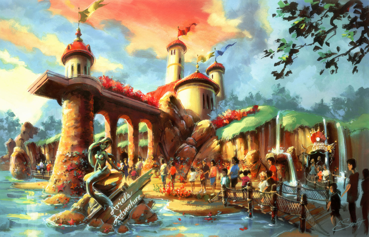 Disneyland Ariels Adventure Fantasy Painting Paintings Mermaid Mermaids Art Wallpaper