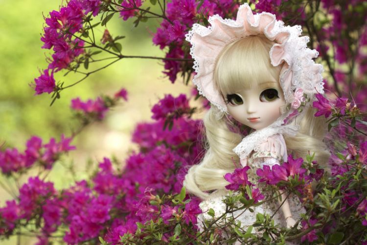doll toy azaleas dolls toys bokeh mood flowers flower girl girls face eyes wallpaper