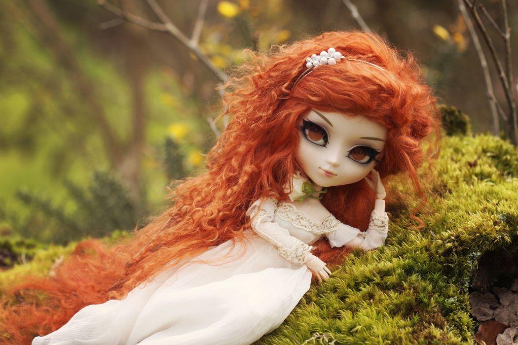 doll toy redhead moss dolls toys mood bokeh girl girls fantasy wallpaper