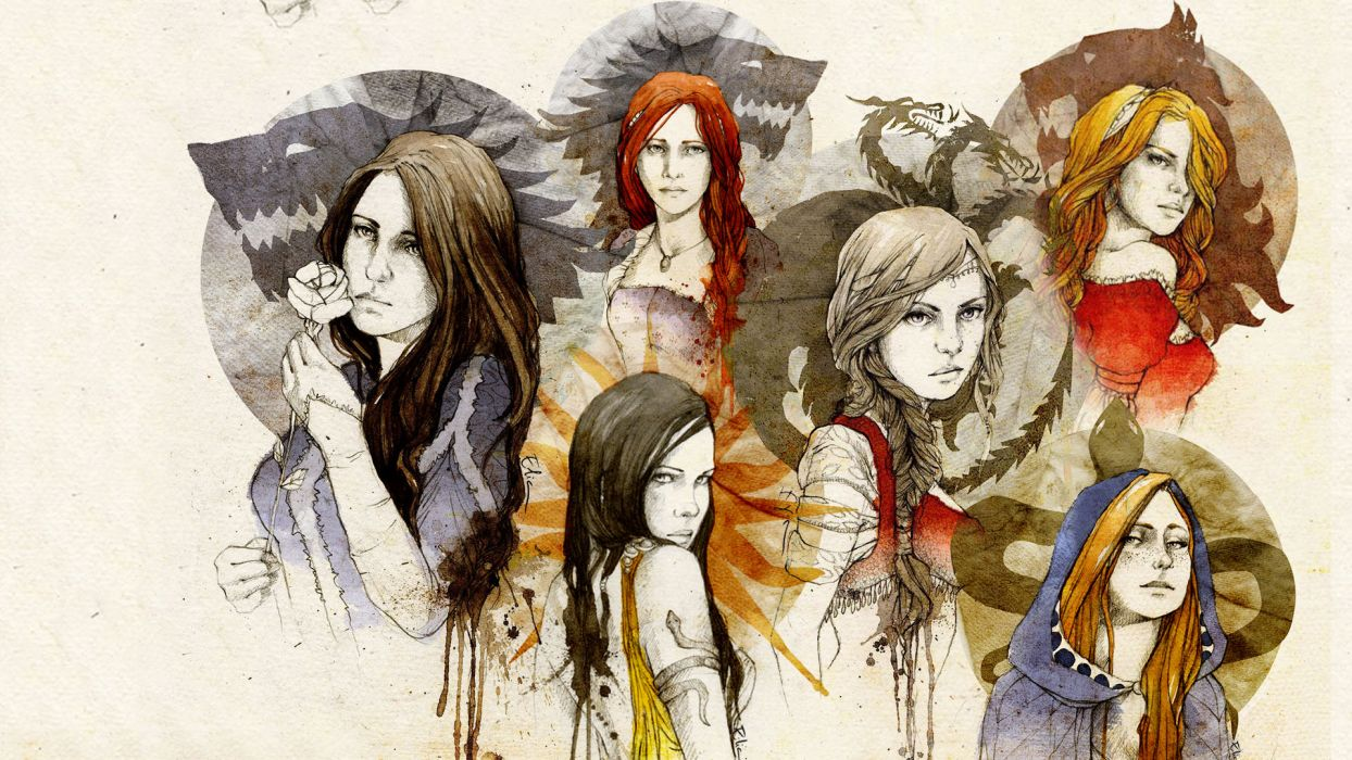 Game of Thrones Song of Ice and Fire mood bokeh women fantasy girl girls collage wallpaper