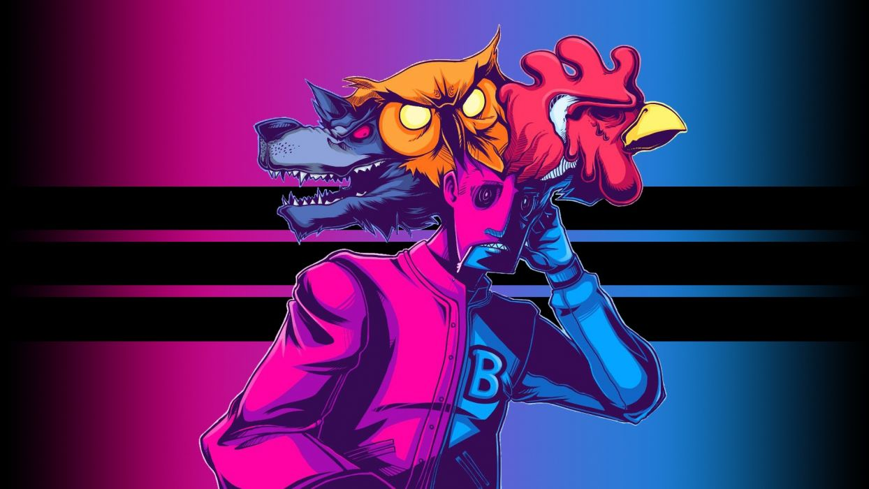 Hotline Miami Pink psychedelic dark color wallpaper