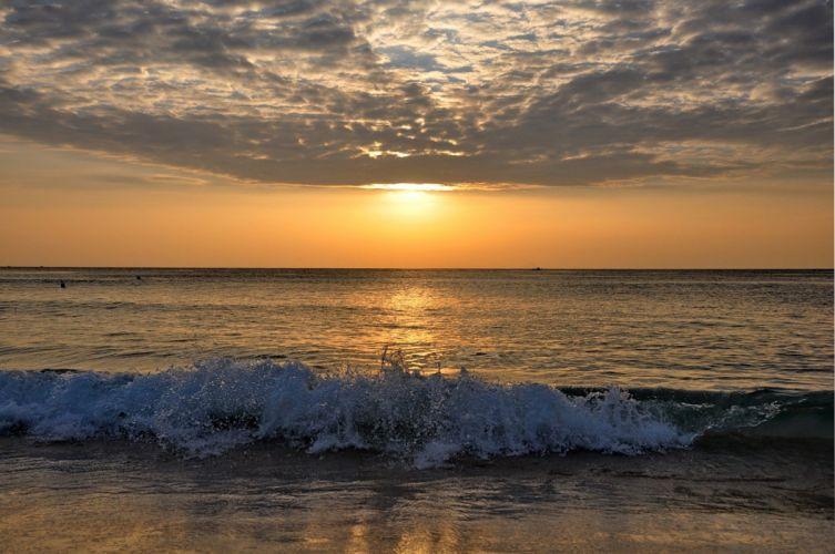 landscape sunset sky clouds sea ocean surf waves wallpaper