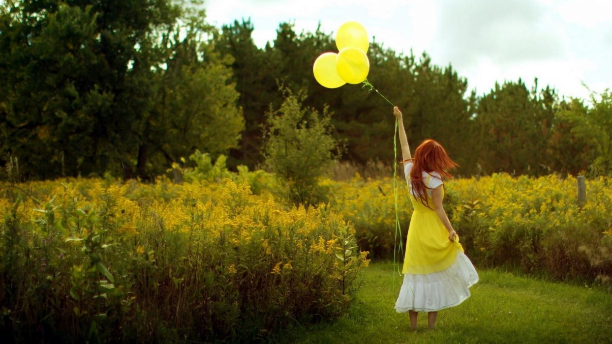 mood women rehead redheads flowers fiels balloon balloons wallpaper