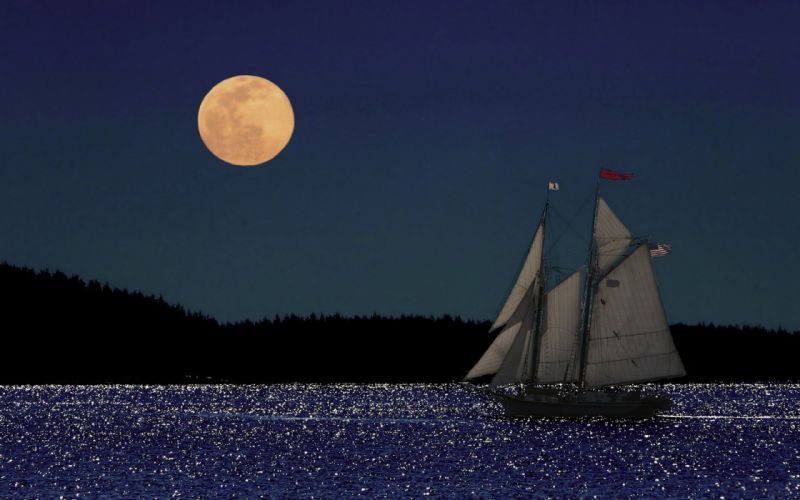 reflection sparkle boating sailing boat boats ship ships mood night ocean sea lake moon wallpaper