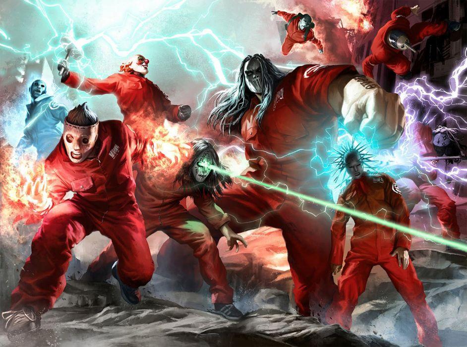 Slipknot Superhero nu-metal metal heavy sci-fi dark fire wallpaper