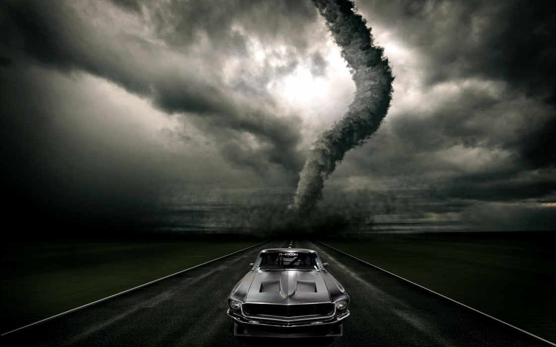 Ford Mustang Muscle Tornado Classic Storm Dark Road Sky Creative Wallpaper