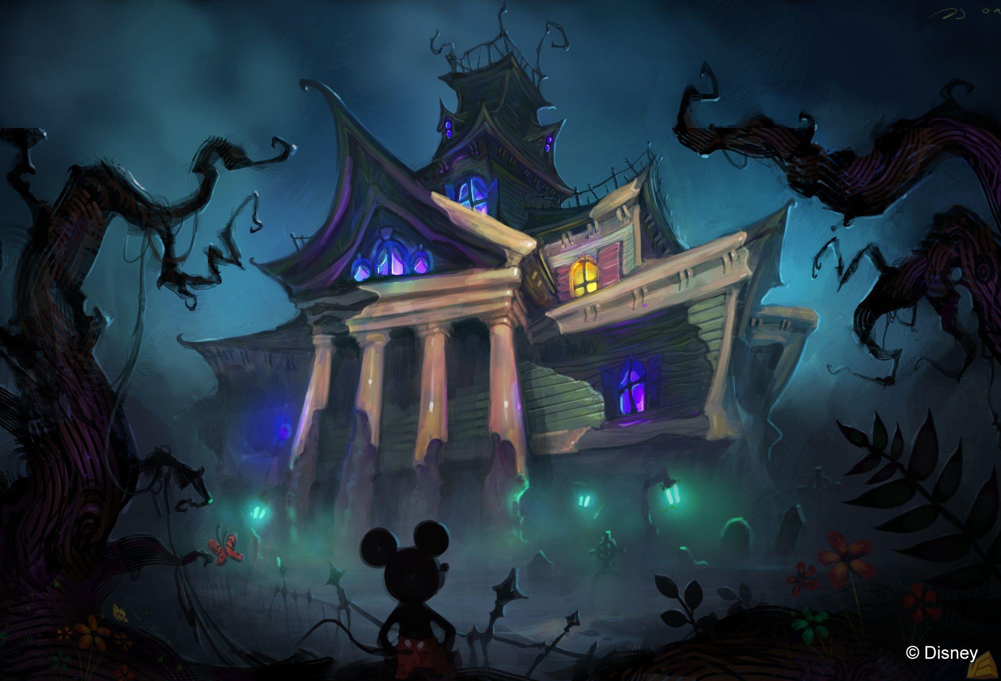 Mickey Mouse Creepy Dark Halloween Disney Haunted Wallpaper