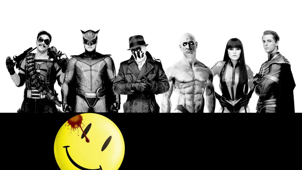Watchmen superhero comic comics movie blood smiley wallpaper
