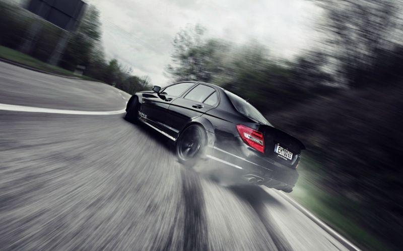 drift car benz c class c63 wallpaper