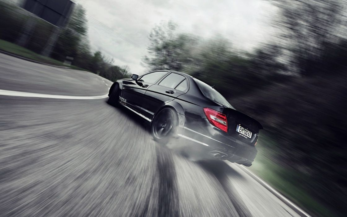 drift car benz c class c63 wallpaper