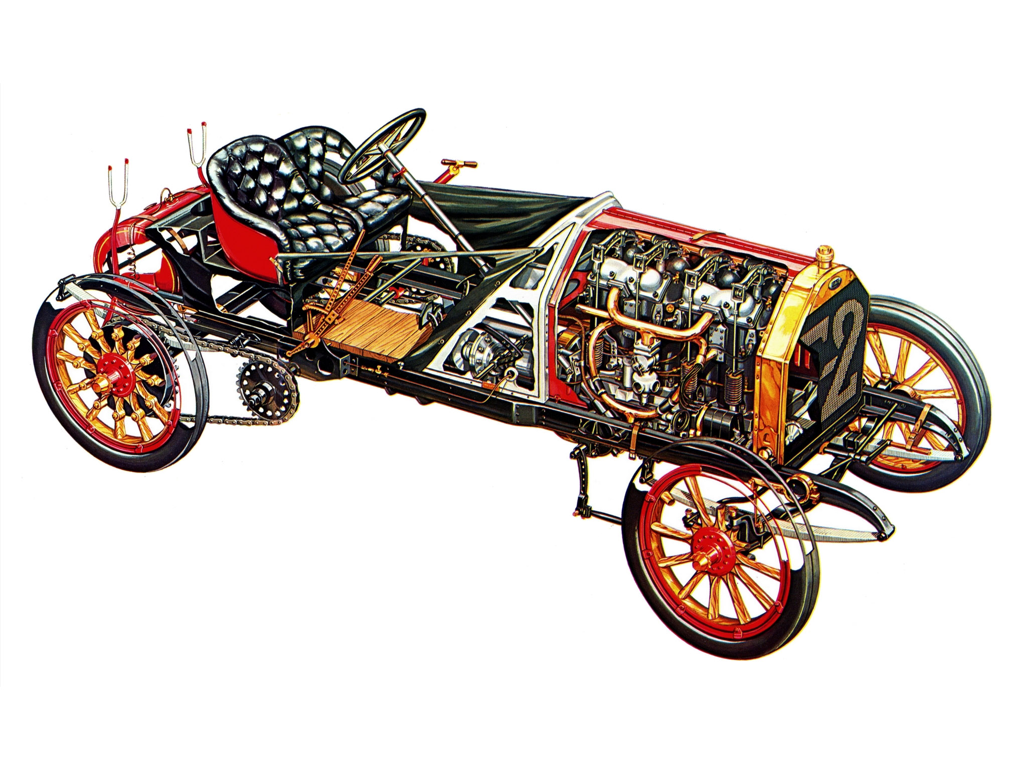 1907 Fiat 130 Hp Grand Prix France Corsa Race Racing Retro