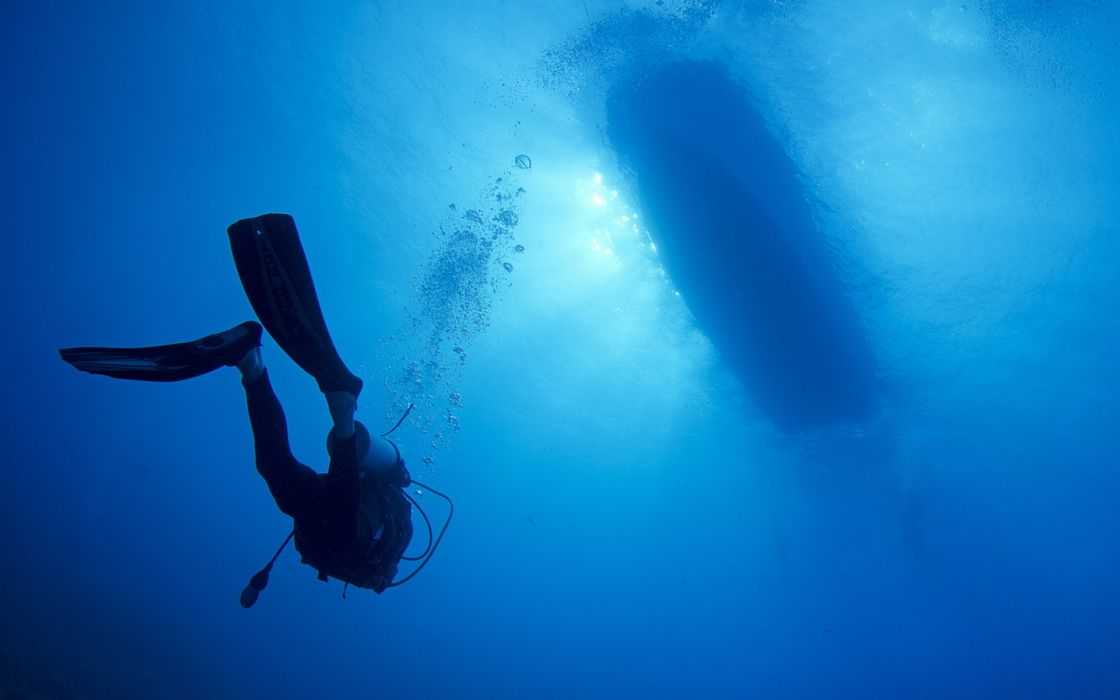 boat water scuba diver ocean sea underwater bubbles wallpaper