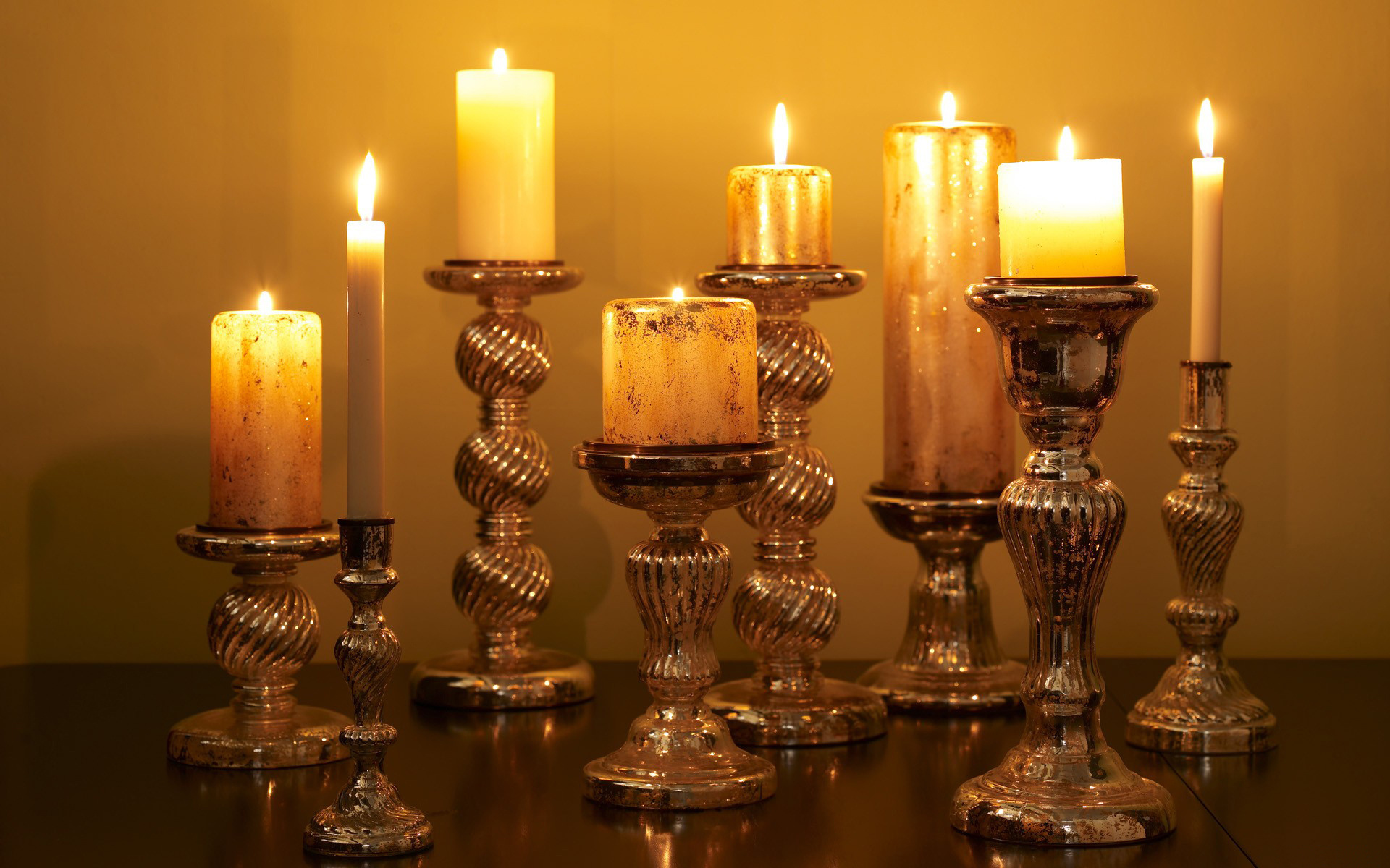 Candles Candle Holders Flame Light Fire Bokeh Wallpaper
