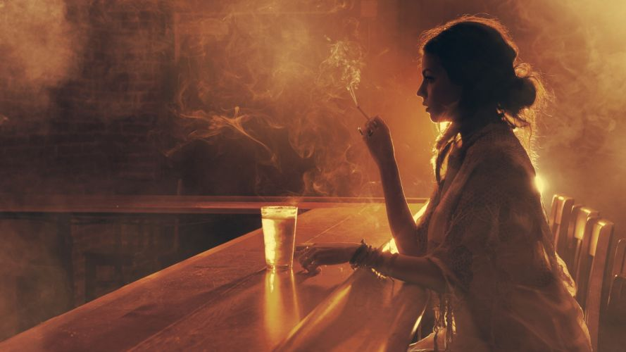girl smoke bar mood wallpaper