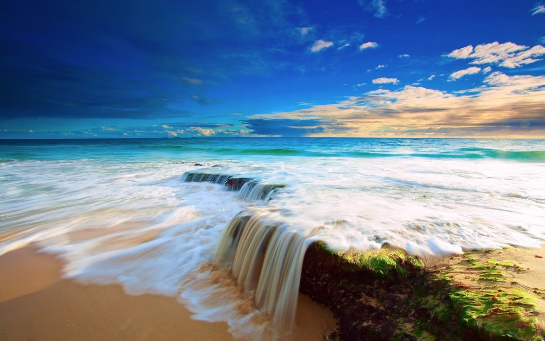 sea rocks shore ocean waves beach sky wallpaper