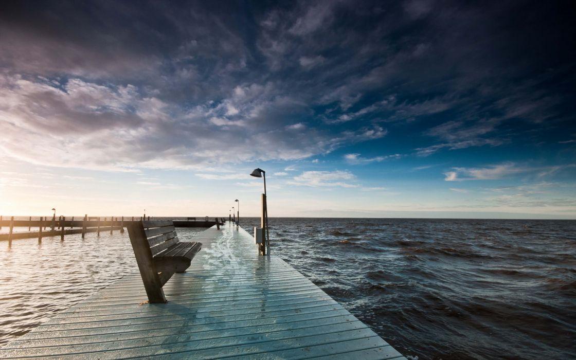sea water sun shop sky clouds bench wallpaper
