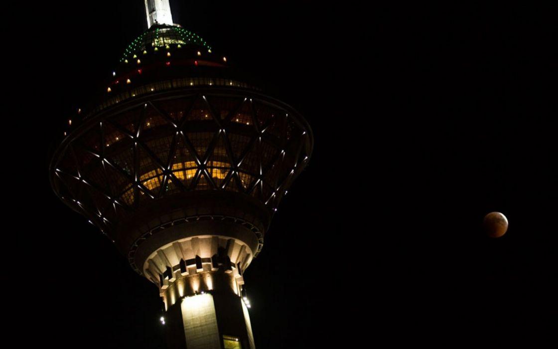 night moon iran milad tower tehran wallpaper