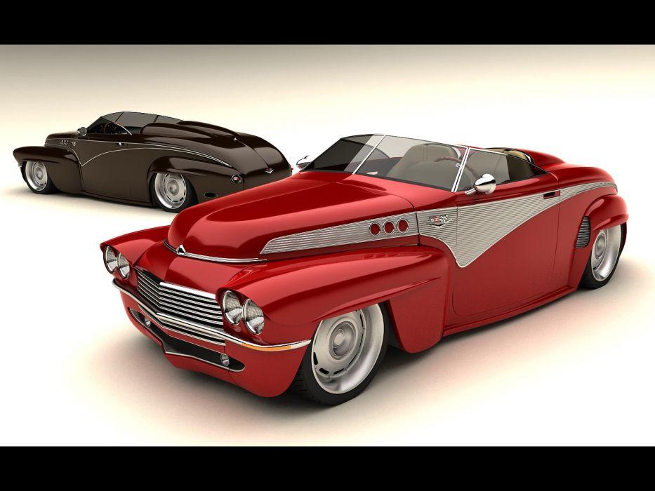 1956 Volvo Custom Vizualtech retro lowrider lowriders hot rod rods roadster       f wallpaper