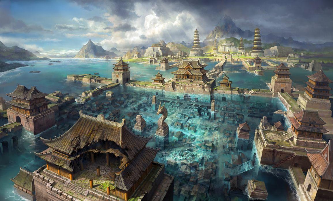 asia city flooding art water wallpaper