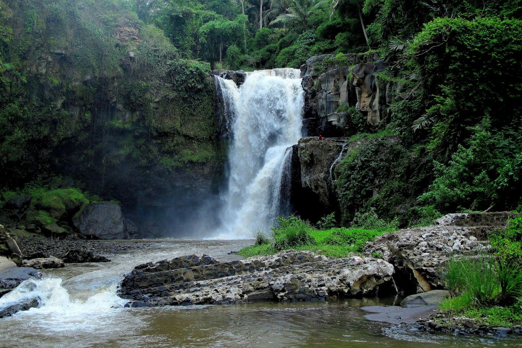 Bali Indonesia waterfalls cliffs jungle river forest wallpaper