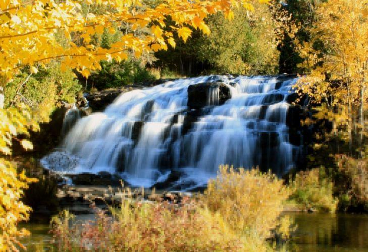 Bond Falls Michigan waterfall cascade fall trees wallpaper