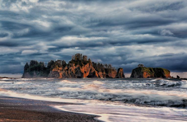cliffs coast clouds ocean wallpaper