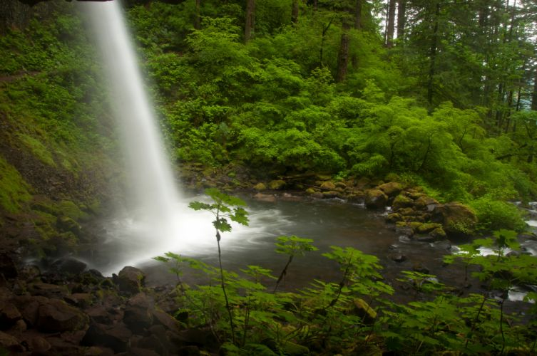 Columbia River Oregon waterfall stream forest wallpaper