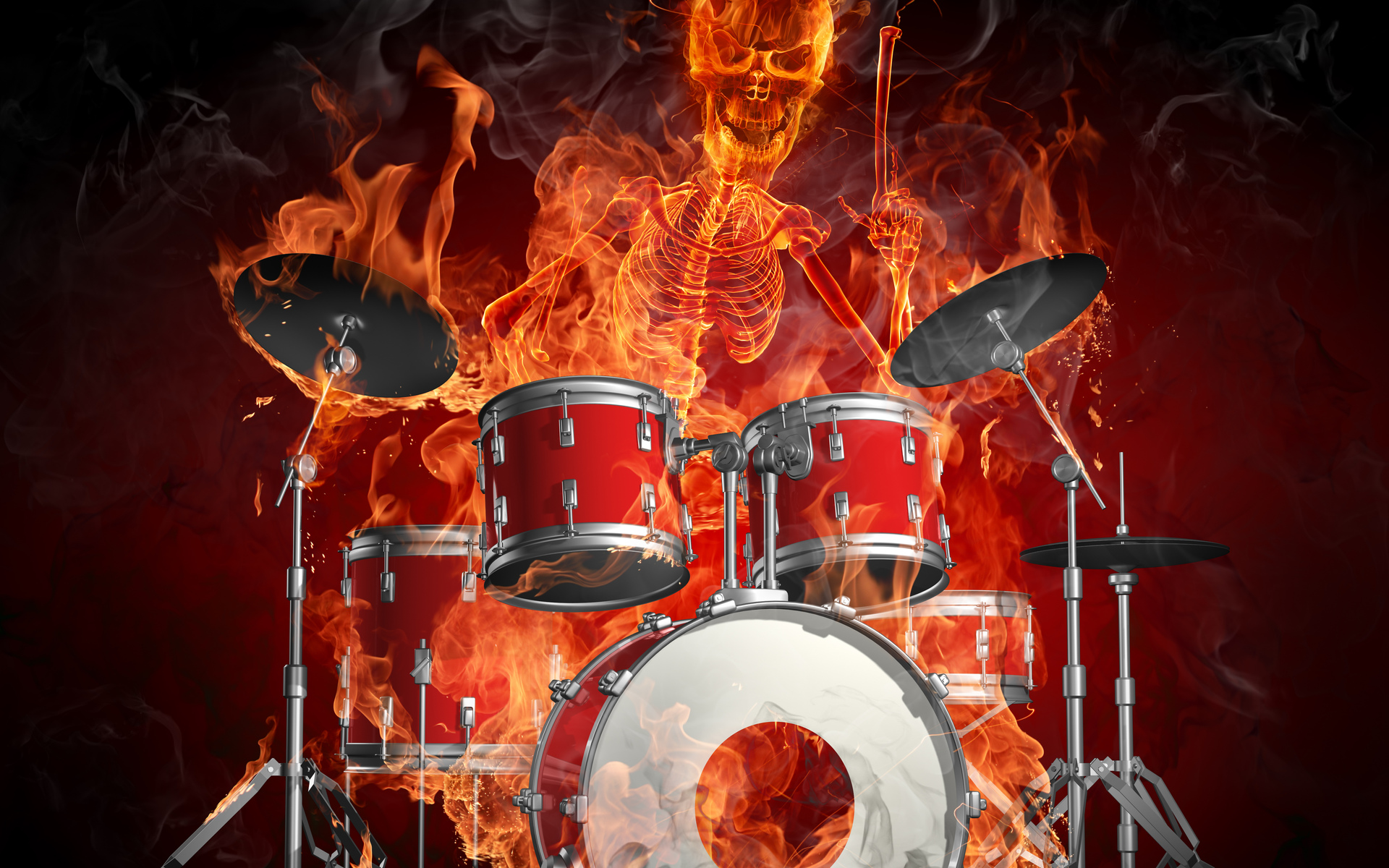 Flaming Guitars Digital Art Hd Wallpaper: Flames Drums Fire Skeleton Dark Wallpaper