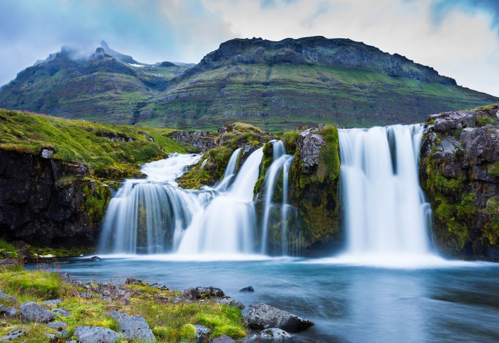 Iceland waterfall mountains wallpaper