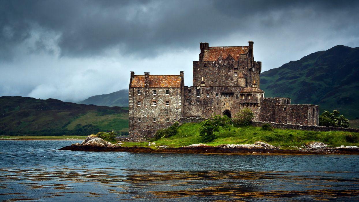 lake scotland dornie castle united kingdom wallpaper