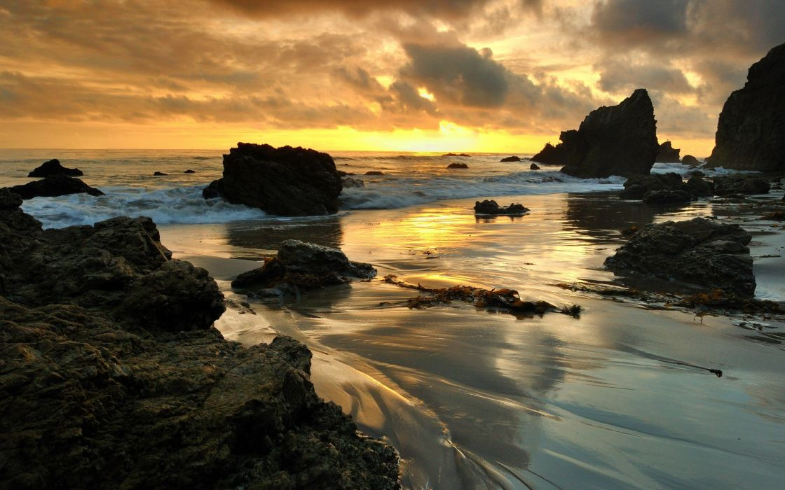 Malibu sunset sea rocks landscape t wallpaper