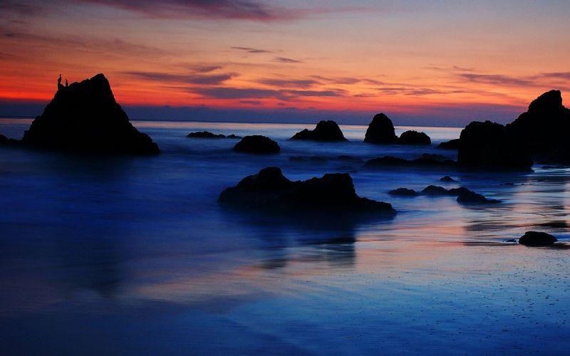 Malibu sunset sea rocks landscape wallpaper
